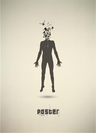 Affiche conceptuelle. L'état mental des humains Vecteurs