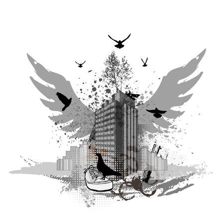 grunge: Grunge urban background. Cityscapes and flying pigeons Illustration