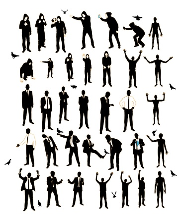 Young men silhouettes. A resident of the street, businessman, supporter, graffiti.