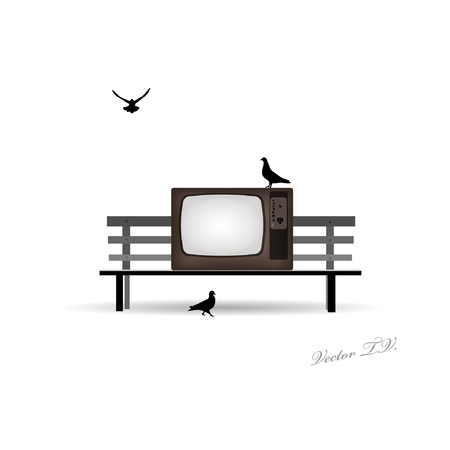 multimedia background: Retro TV on the bench and pigeons