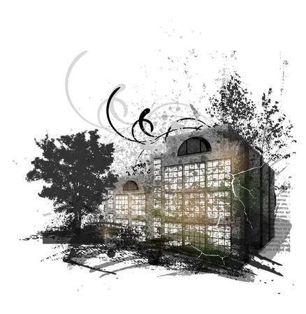 ink spill: Grunge urban background