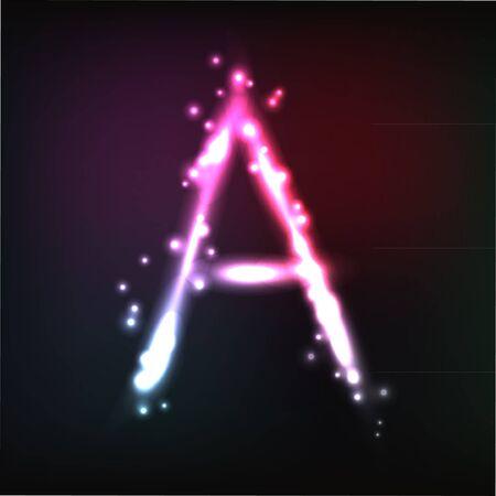 alphabet. Neon letter Stock Vector - 10649923