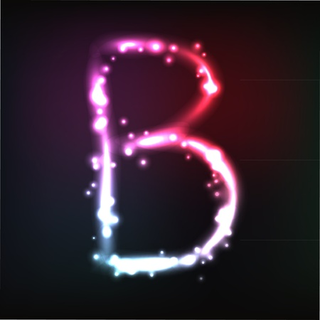 neon sign:  alphabet. Neon letter Illustration