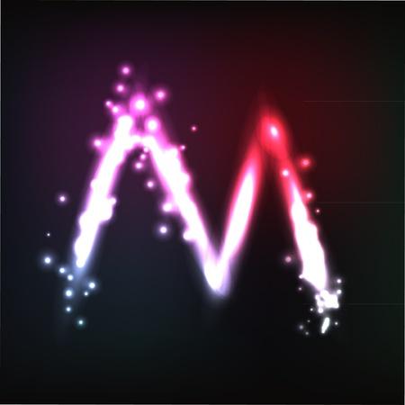 alphabet. Neon letter Stock Vector - 10649962