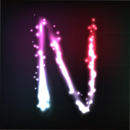 alphabet. Neon letter Ilustração