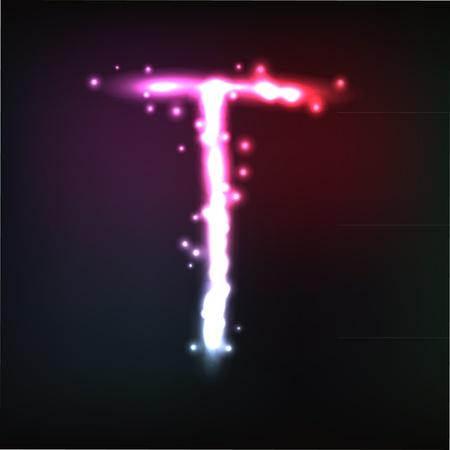 alphabet. Neon letter Vector