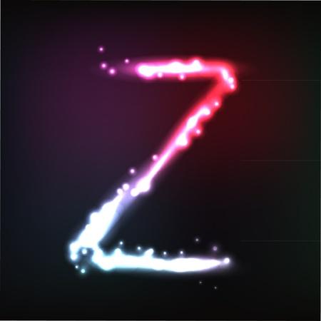 alphabet. Neon letter Stock Vector - 10649920