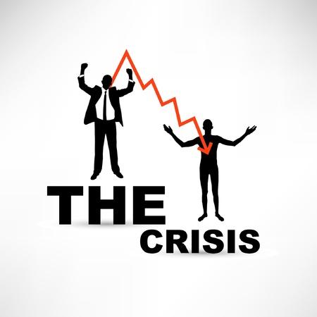 Financiële crisis concept. Joyful en naakt zakenman.