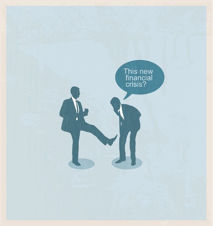 The concept of the financial crisis. Duel of two businessmen. Illustration