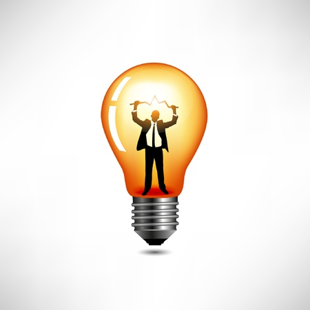 invention: Light bulb. The concept of idea.