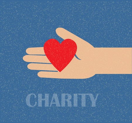 hand holding the heart. charity Vector
