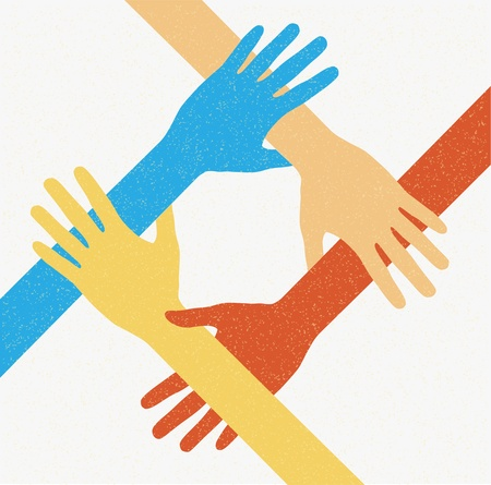 joined hands: Hands teamwork. Connecting concept. Vector illustration