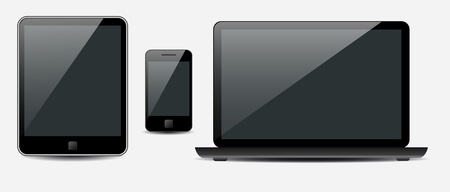 smartphone: Vector Laptop, tablet computer and mobile phone