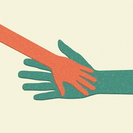 hand touch: Helping hands. Adult Care about child. Vector illustration.