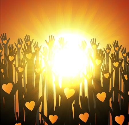 Loving hands design. sunset Vector