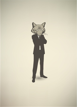 Cat Businessman Vector