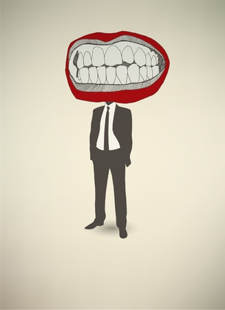 Conceptual poster. The businessman Mouth Vector