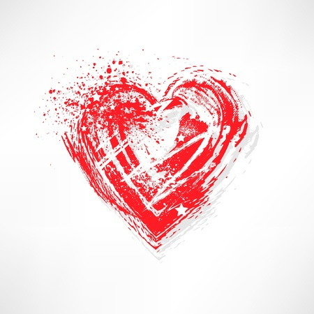 Painted brush heart shape Vector