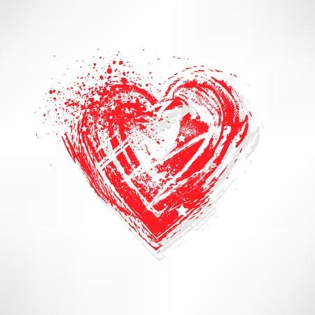 Painted brush heart shape Vector