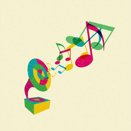 gramophone with music Vector