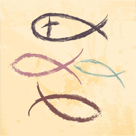 icthus: Christian religion symbol fish created  Illustration