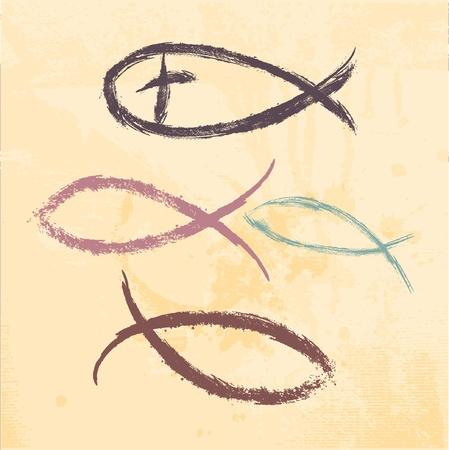 christian fish: Religi�n cristiana peces s�mbolo creado Vectores