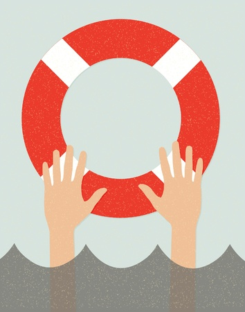life support: life buoy and hands in water