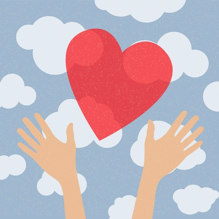 hands holding the heart. charity Vector