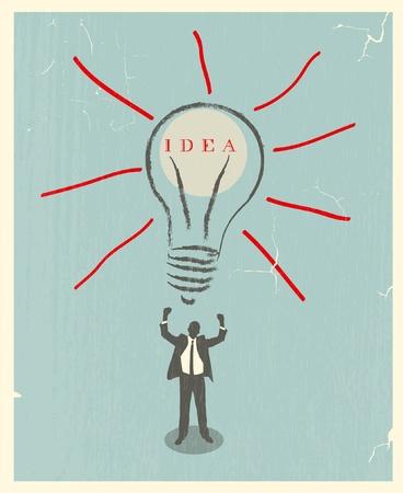 illustration of idea bulb. retro poster