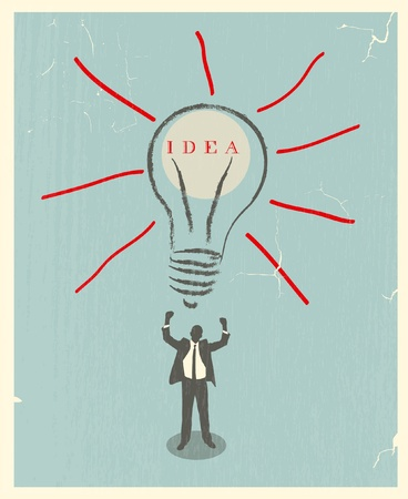 illustration of idea bulb. retro poster Vector