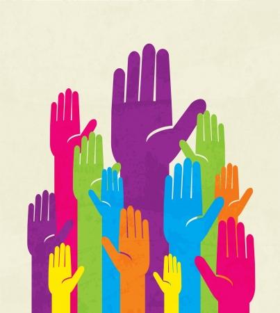 rosnąco: kolorowe ręka w górę. pojęcie demokracji Ilustracja