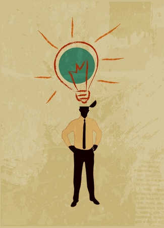 Illustration of the idea, open the human head from a flying character idea - a light bulb.