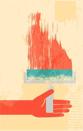 roller brush: Mano con brocha poster retro Vectores