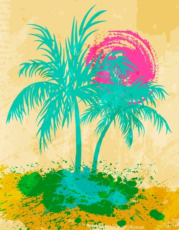 hawaii sunset: Palm trees and sea shore, grunge background Illustration