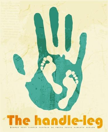mani e piedi: abstract background per la progettazione. Poster concettuale mano-piede