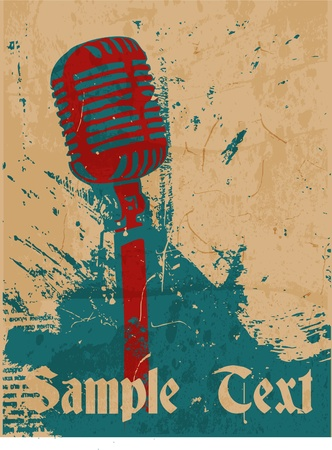 music poster: grunge concert poster with microphone Illustration