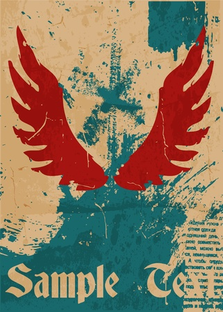 most popular: Abstract pattern for design. Retro Poster with wings