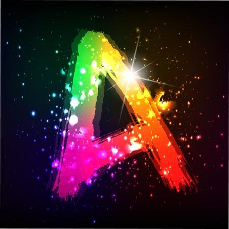 Vector alphabet. Neon letter Vector