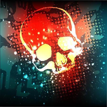 벡터 grunge 두개골 포스터