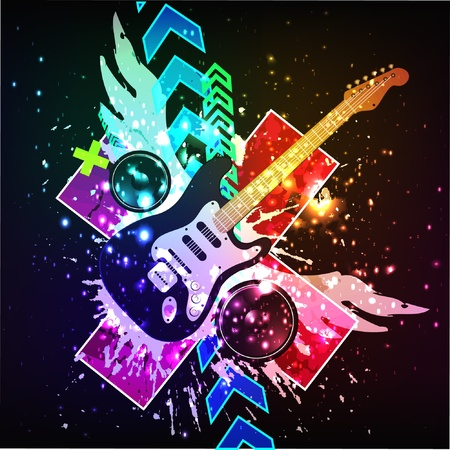 Colorful Disco Dance Background with Electric Guitar Vector
