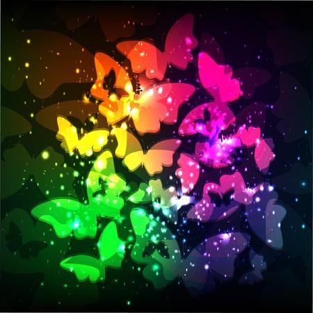 蝶のカラフルな背景。ベクトル。