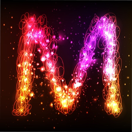 Glowing neon font. Shiny letter Stock Vector - 11837942