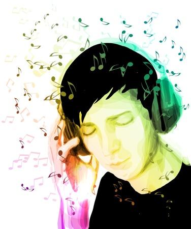 Een jonge man luistert naar muziek. Creatieve achtergrond Stock Illustratie