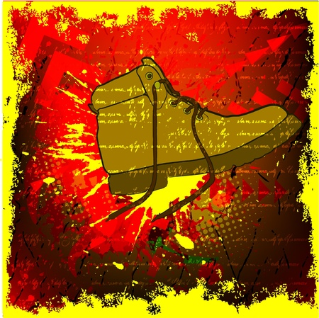 grunge background with shoes Vectores