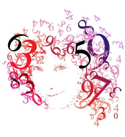 Portrait abstrait d'une femme avec des nombres