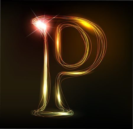 Glowing neon font. Shiny letter Stock Vector - 11837751