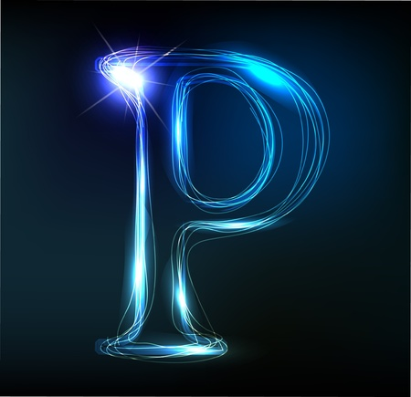 Glowing neon font. Shiny letter Stock Vector - 11837752