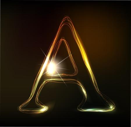 write abc: La fuente de ne�n que brilla intensamente. Brillante carta de