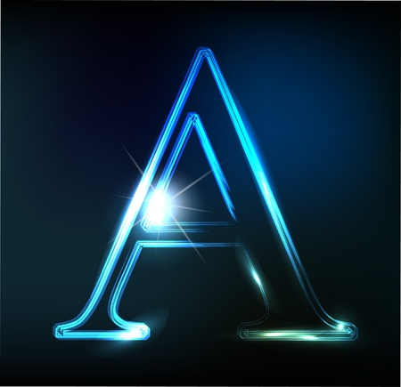 alphanumeric: Glowing neon font. Shiny letter