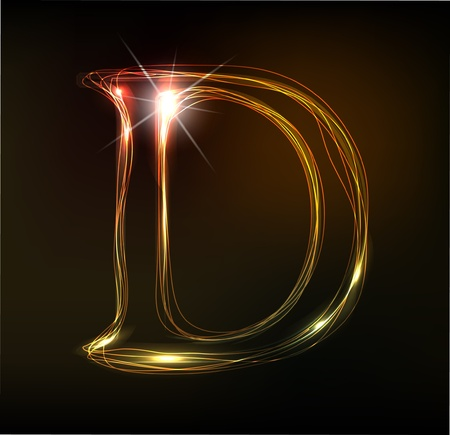 Glowing neon font. Shiny letter Vector